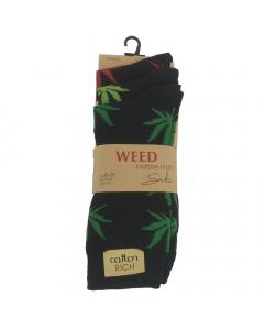 Weed Leaf Socks - Black - 3 pack