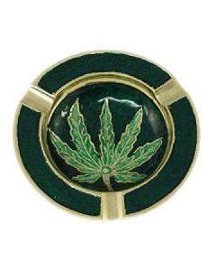 Metal Enamel Leaf Ashtray