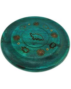 Disc Incense Burner - Elephant - Green