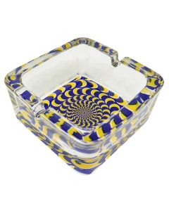 Funky Chunky Glass Ashtray - Blue And Yellow