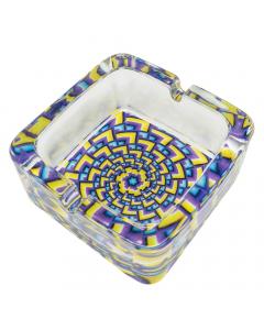 Funky Chunky Glass Ashtray - Purple/Yellow/Blue/Black