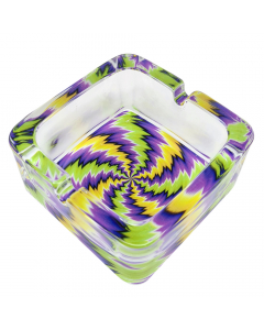 Funky Chunky Glass Ashtray - Green/Black/Purple/Yellow