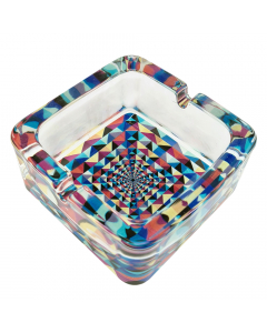 Funky Chunky Glass Ashtray - Yellow/Red/Blue/Black