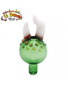 El Barto Glass - Bubble Cap - Green And White