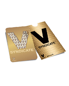 V Syndicate Grinder Card - 85 x 55mm - Gold V Syndicate Logo