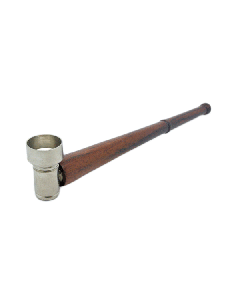 14cm Wooden Pipe With Metal Bowl